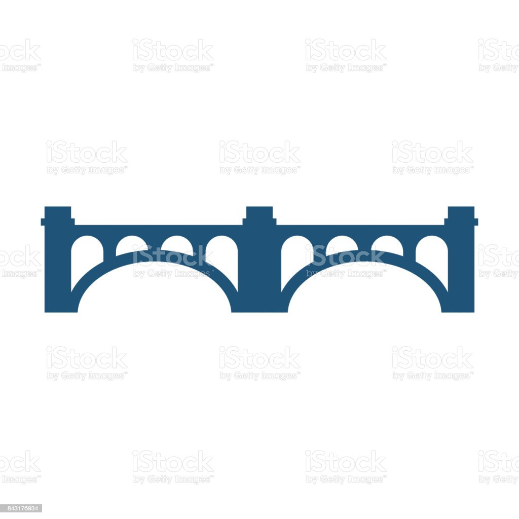 Arched bridge with columns silhouette vector illustration icon isolated