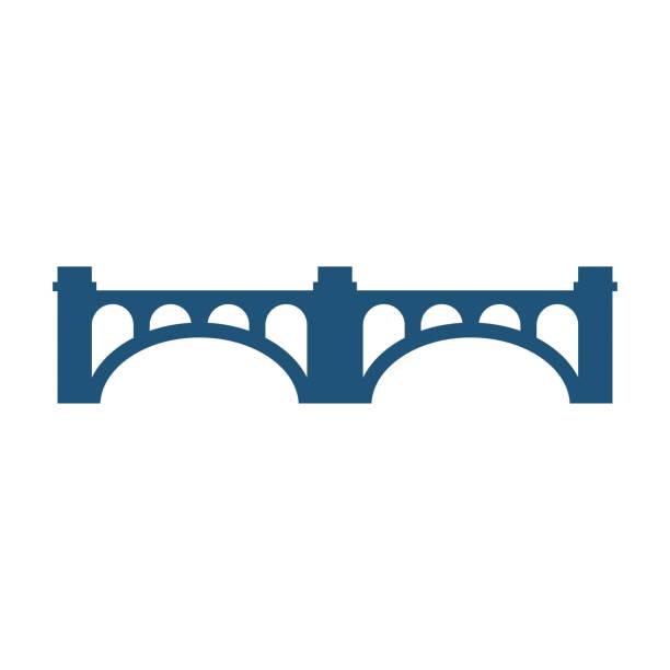 Gebogen brug met kolommen silhouet vector illustratie pictogram geïsoleerdvectorkunst illustratie