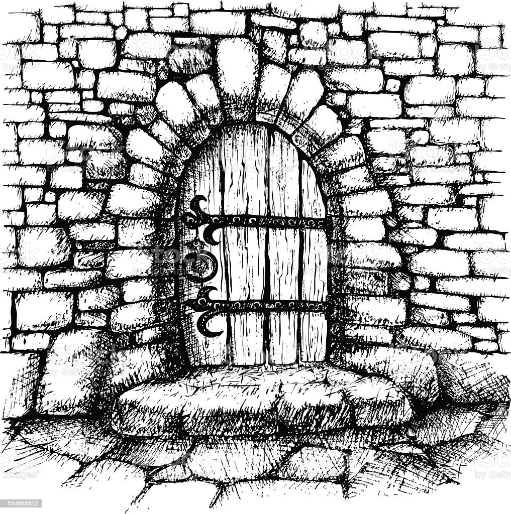 Marble Wall Clips : Arched door in a stone wall stock vector art more images