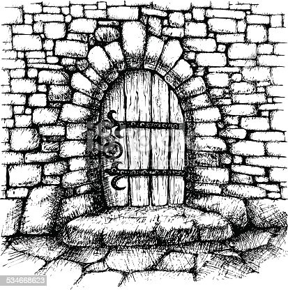 Arched Door In A Stone Wall Stock Vector Art Amp More Images