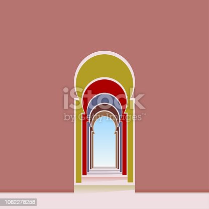 Arched doorway and corridor from a mosque, vector