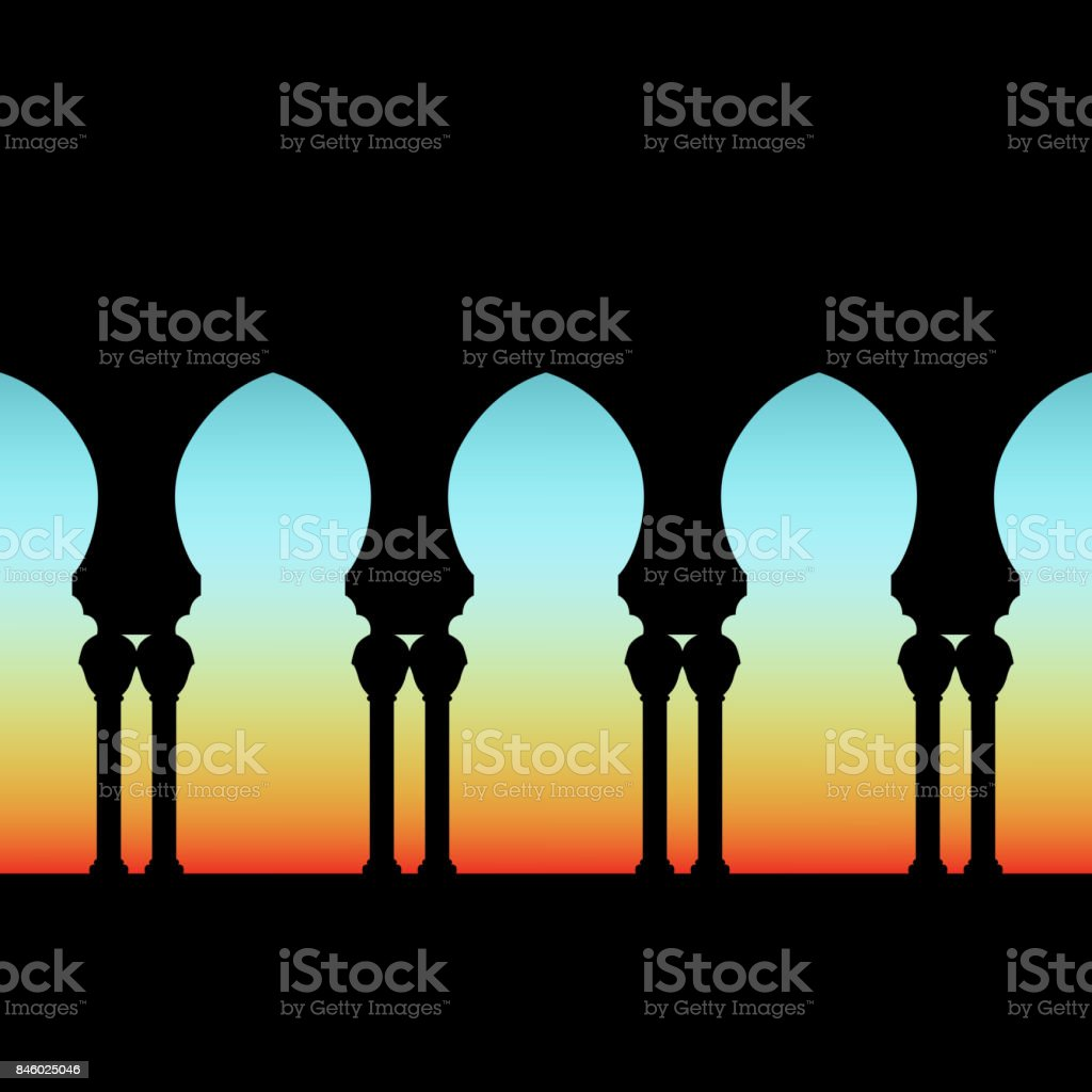 arched gallery on dawn sky background vector art illustration