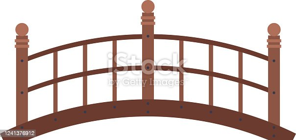 Arched Wooden Bridge, Urban Infrastructure Design Element, Flat Style Vector Illustration Isolated on White Background.