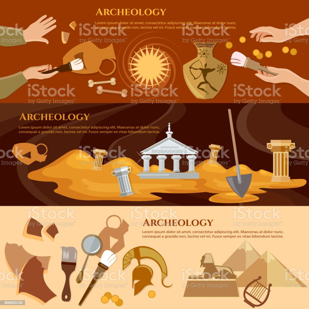 Archeology and paleontology banner. Archaeological excavation and achaeologists unearth ancient artifacts ancient history vector