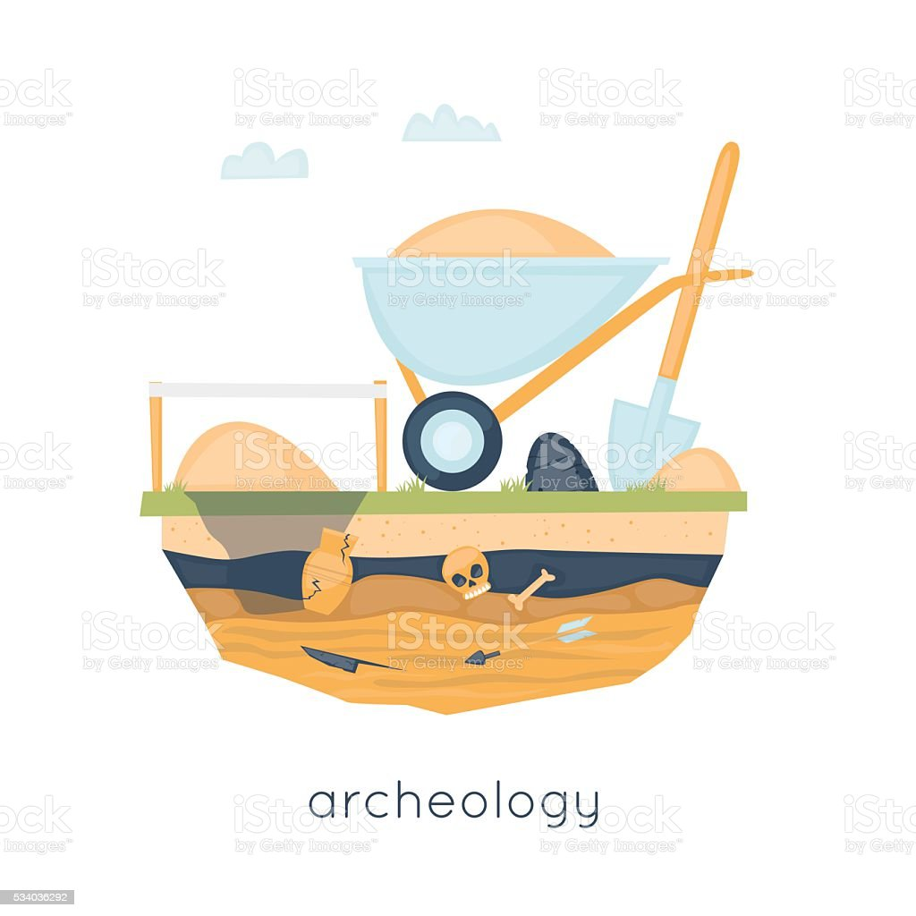 Archeology, archaeological excavations, ancient artifacts excavation, study, science. vector art illustration