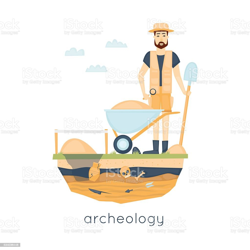 Archeology. Archaeologist leading the excavations, discovering a jug vector art illustration