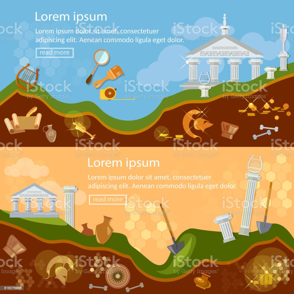 Archeology banner treasure hunters archaeological vector art illustration
