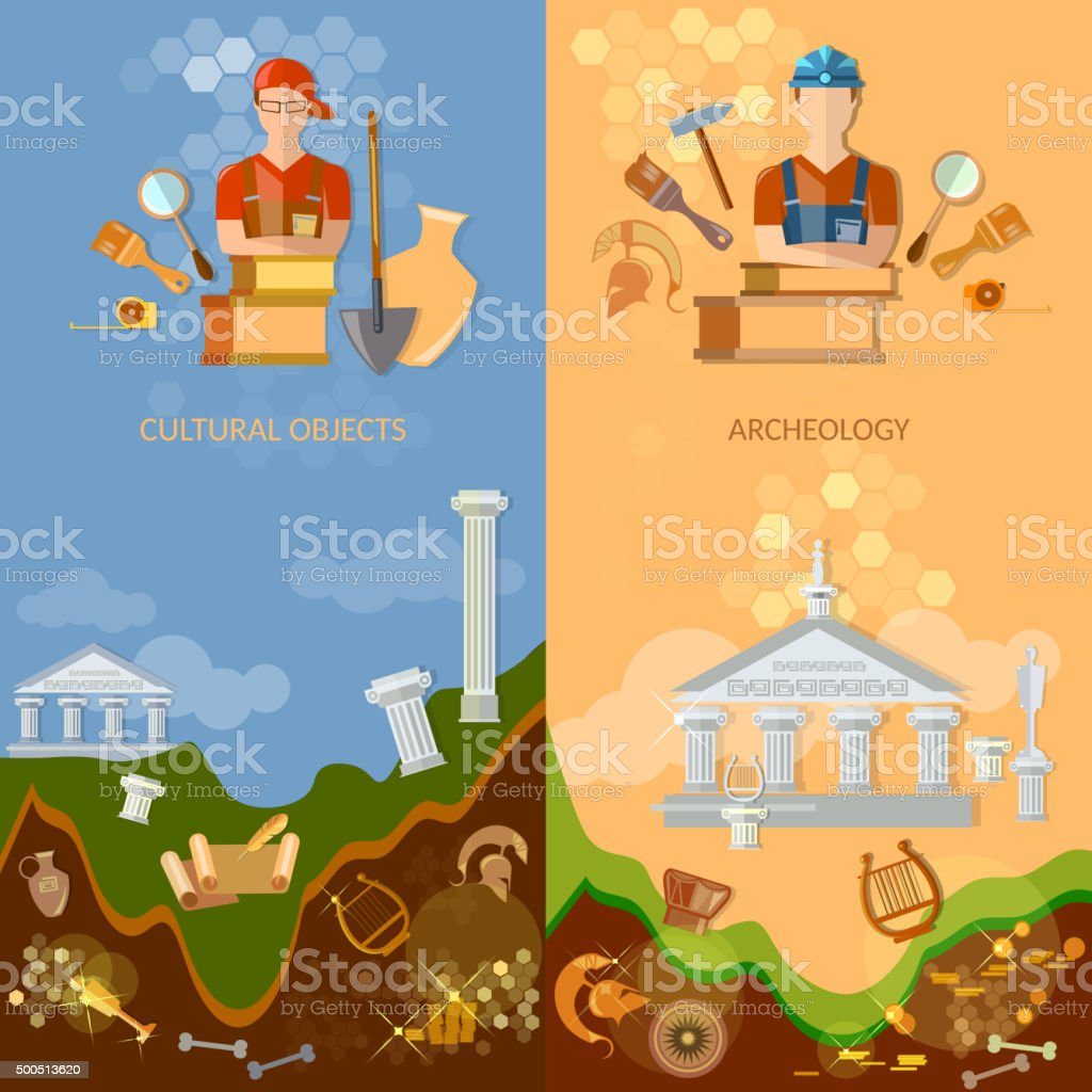 Archeology banners ancient artefacts vector art illustration