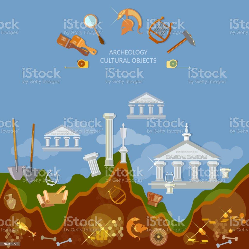 Archeology dig ancient treasures civilization cultural objects vector art illustration