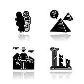 Archeology drop shadow black glyph icons set. Mummy in sarcophagus. Pyramids. Egyptian culture mysteries. Researcher. Column ruins. Broken pillars. History, culture. Isolated vector illustrations
