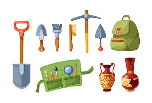 Archeology equipment. Digging tools excavation, shovel, pickaxe, amphora, backpack, shovel, tassel. Historic civilization exploration