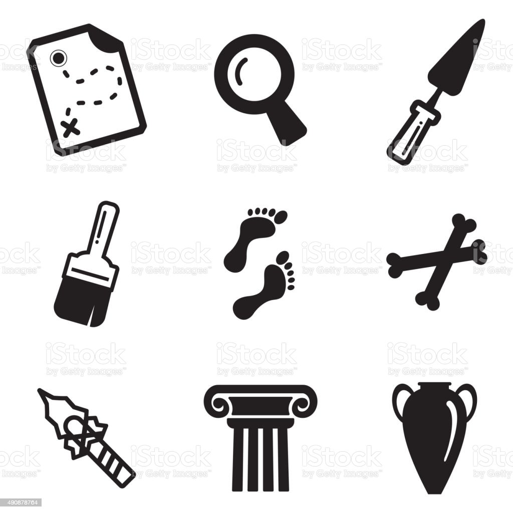 Archeology Icons vector art illustration