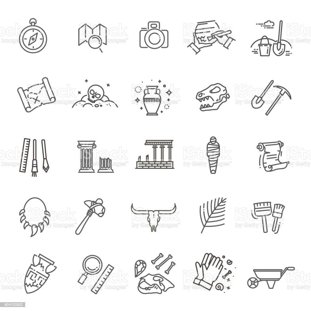 archeology line icons set