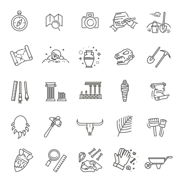 archeology line icons set Outline black icons set in thin modern design style, flat line stroke vector symbols - archeology collection ancient stock illustrations