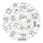 Outline black icons set in thin modern design style, flat line stroke vector symbols - archeology collection
