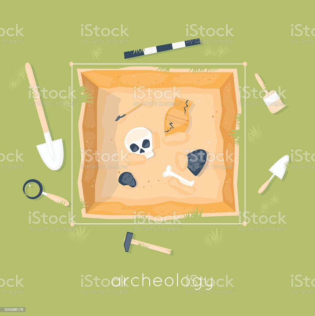 Archeology science. Ancient fossils. Discovering a jug vector art illustration