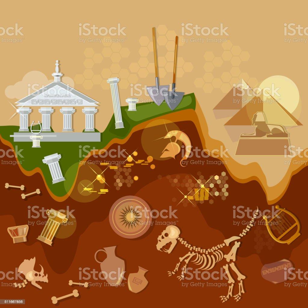 Archeology treasure hunters ancient artifacts vector art illustration