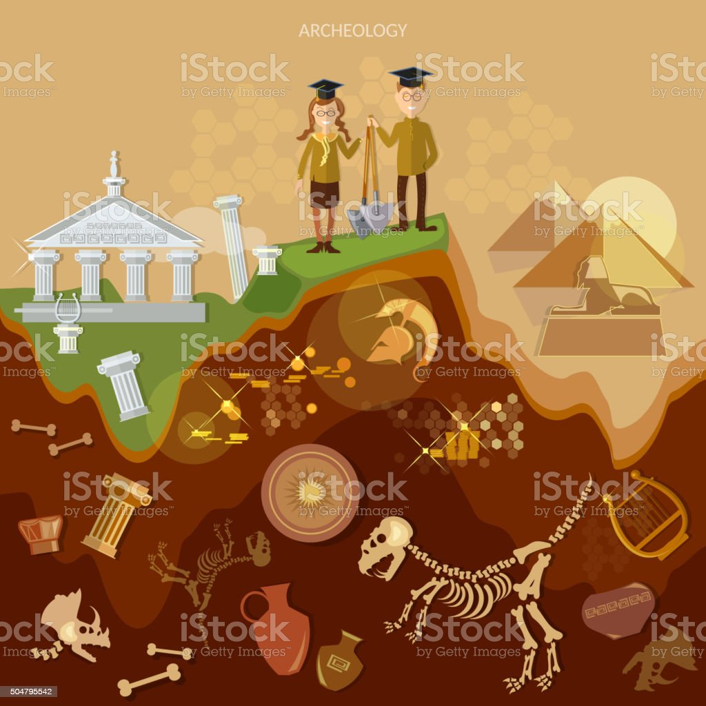 Archeology treasure hunters archaeological vector art illustration