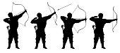 archer, bowman silhouette set vector