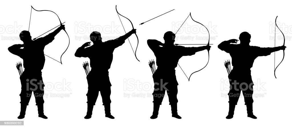 archer, bowman silhouette set vector vector art illustration