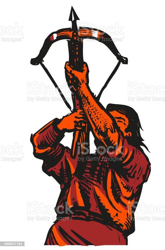 Archer Crossbow Medieval Warrior Vector Illustration Stock