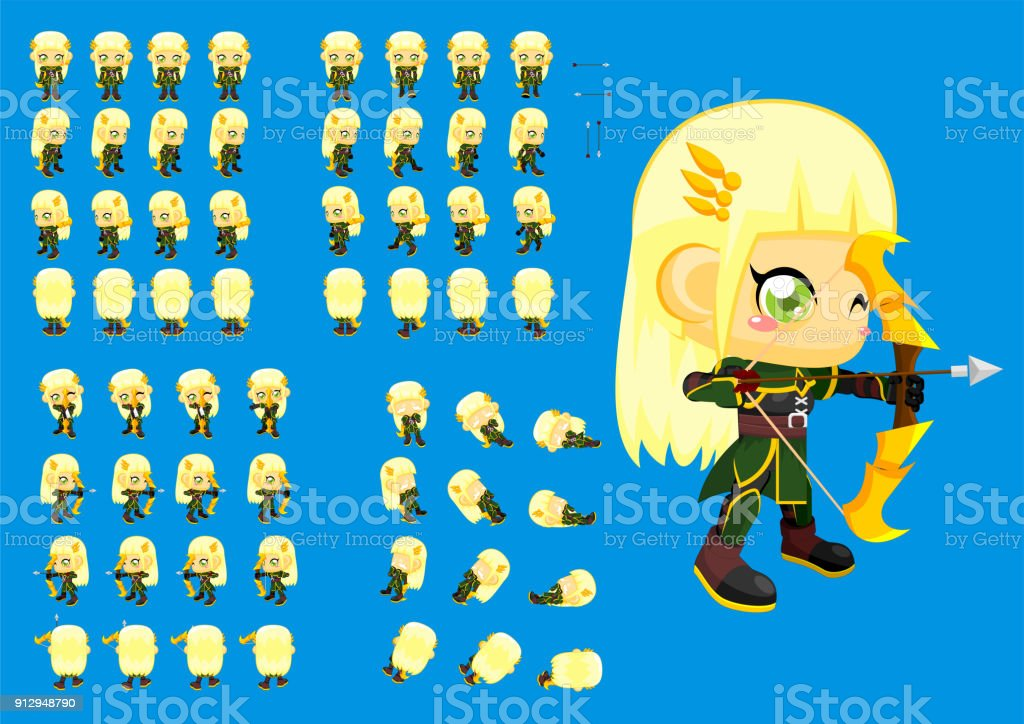 Archer Girl Game Sprite Stock Vector Art More Images Of Activity