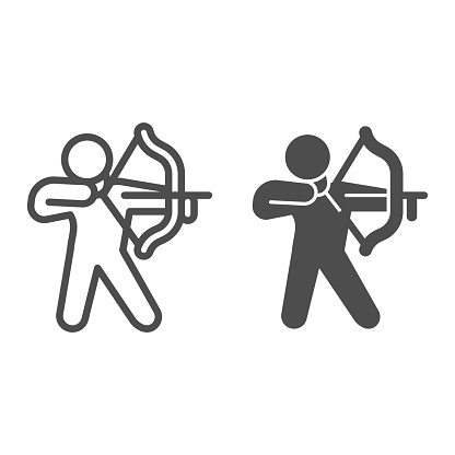 Archer line and solid icon, self defense concept, man with bow and arrow sign on white background, weapon for for shooting icon in outline style for mobile concept and web design. Vector graphics.
