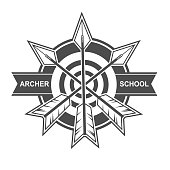 Symbol and vector design template with archery theme