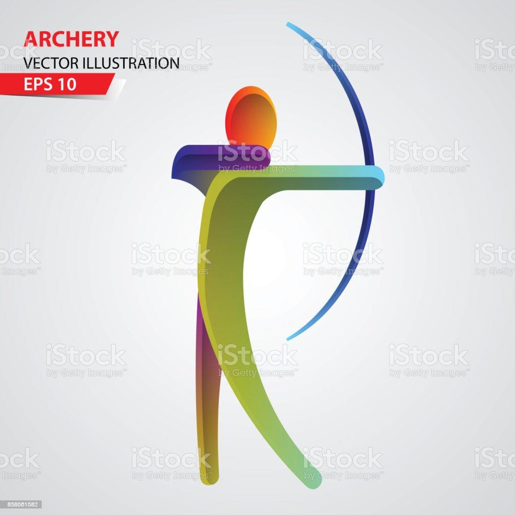 Icône de sport tir à l'arc - Illustration vectorielle
