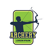 archery icon with text space for your slogan / tag line, vector illustration