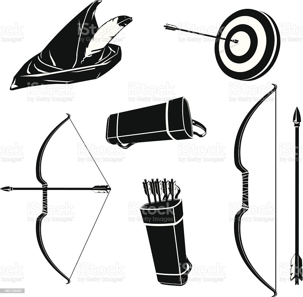 Archery Icons vector art illustration