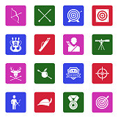 Archery Icons. White Flat Design In Square. Vector Illustration.