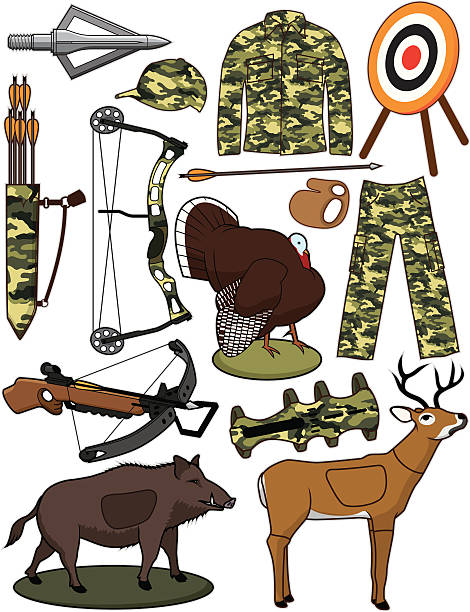 Archery Items vector art illustration