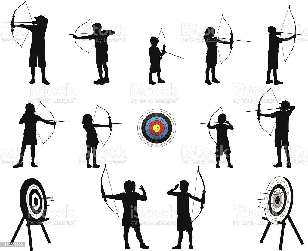 Archery Kids vector art illustration