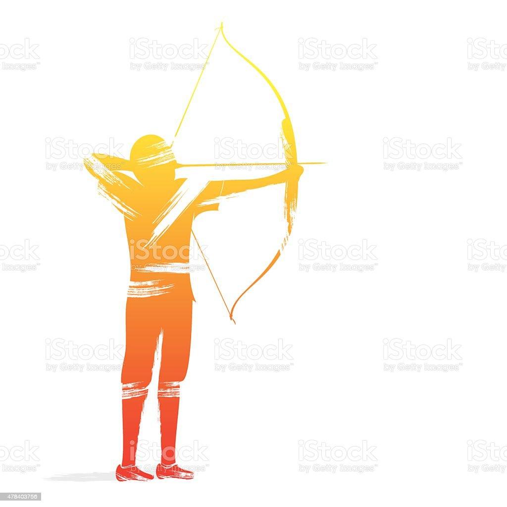 archery player design vector art illustration