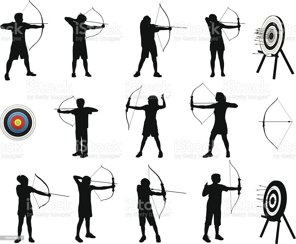 Archery Silhouettes vector art illustration