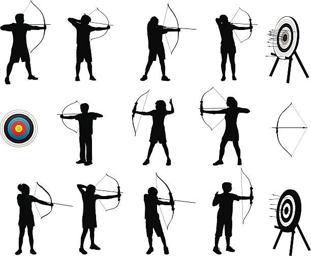 Archery Silhouettes vector art illustration