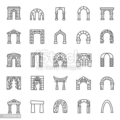 Arches, icon set. Arch architectural element from various materials, linear icons.