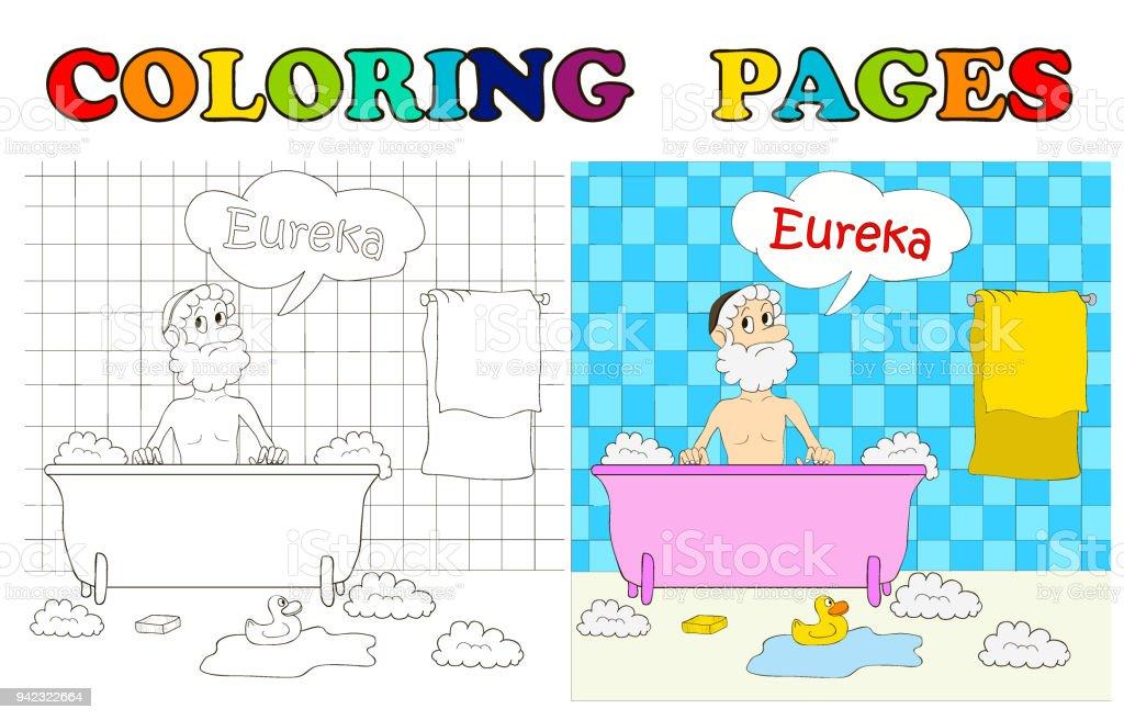 Arşimet Banyo Banyo Eureka Boyama Sayfaları çizgi Film Vektör çizim