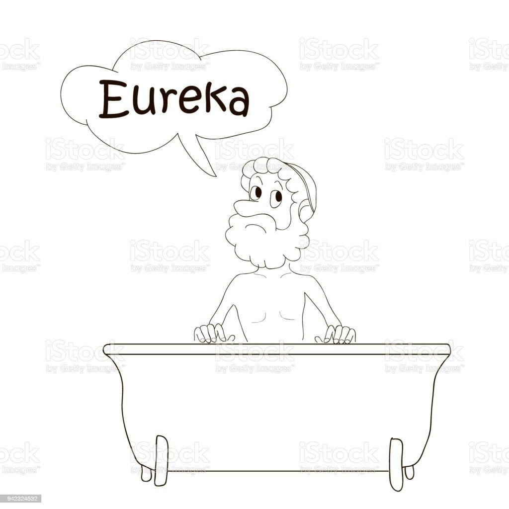 Ilustración de Bañarse En El Baño De Arquímedes Eureka Dibujos Para ...