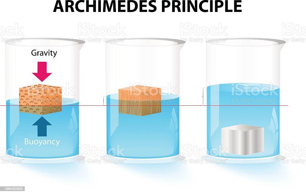 Archimedes principle vector art illustration
