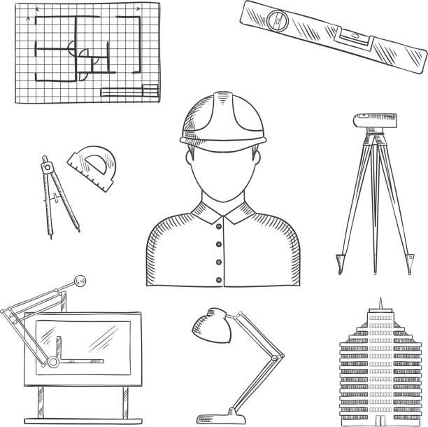 bildbanksillustrationer, clip art samt tecknat material och ikoner med architect and engineer profession icons - construction workwear floor