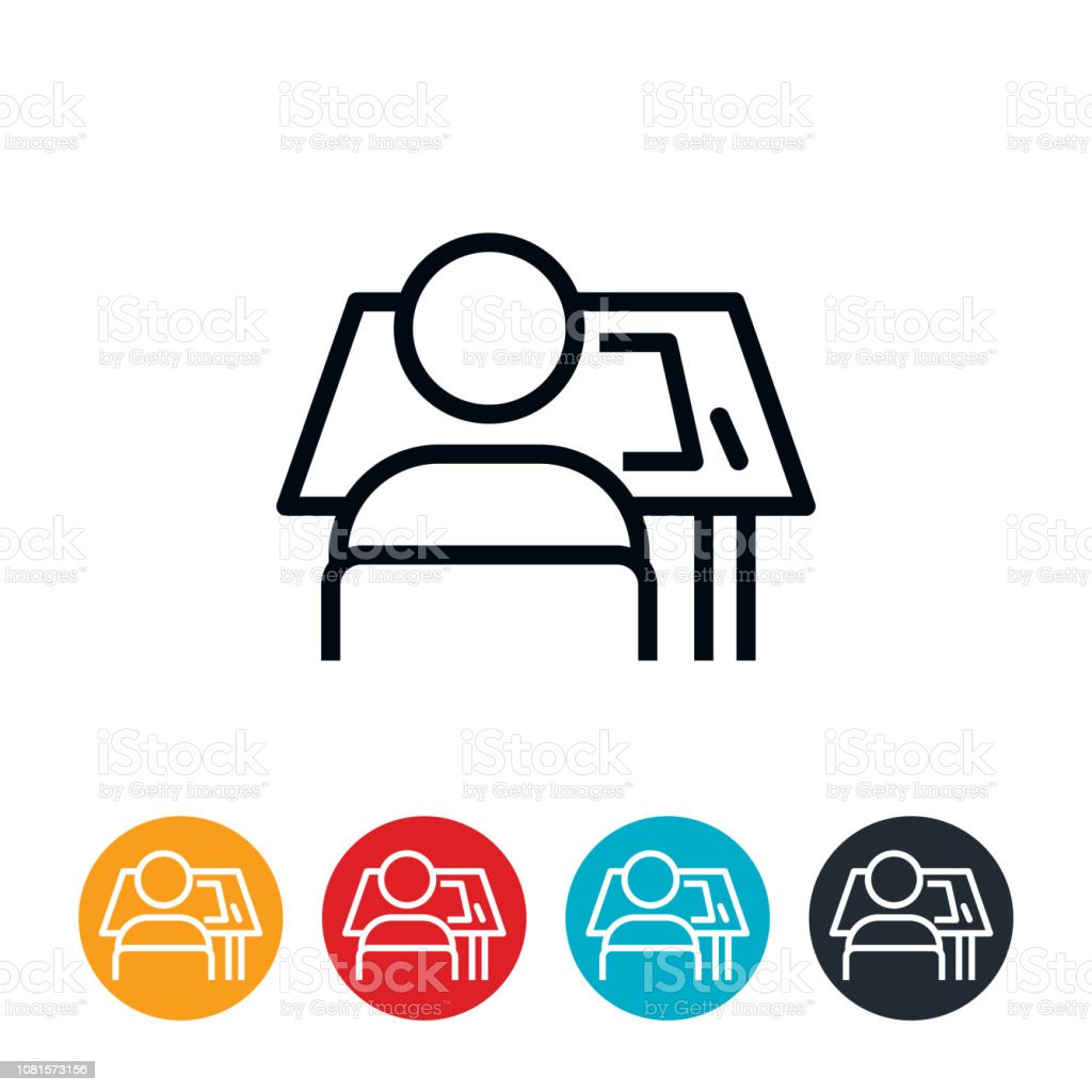Architect At Drafting Table Icon vector art illustration