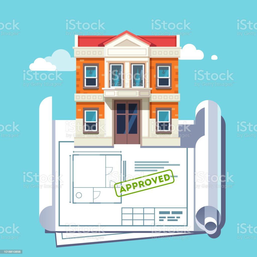 architect blueprint of georgian style house building with approved