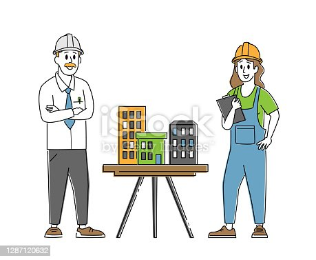 istock Architect, Builder Engineer Character Presenting Model of House Mock Up to Foreman. Building or Engineering Construction 1287120632