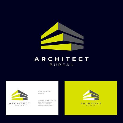 Architect bureau logo. Build and construction emblem.