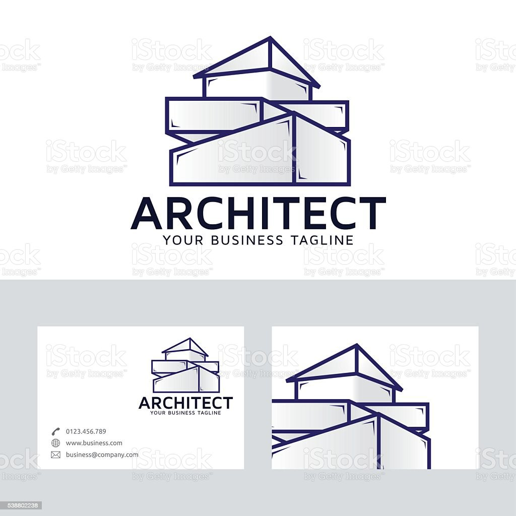 Architect company vector logo with business card template for Architecture company