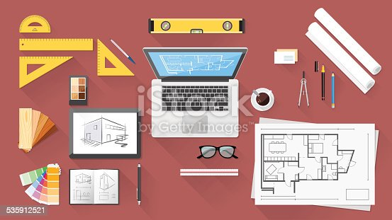 Architect and designer desk with tools, tablet and computer