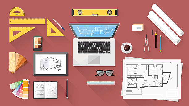 architect desk - architect stock illustrations, clip art, cartoons, & icons