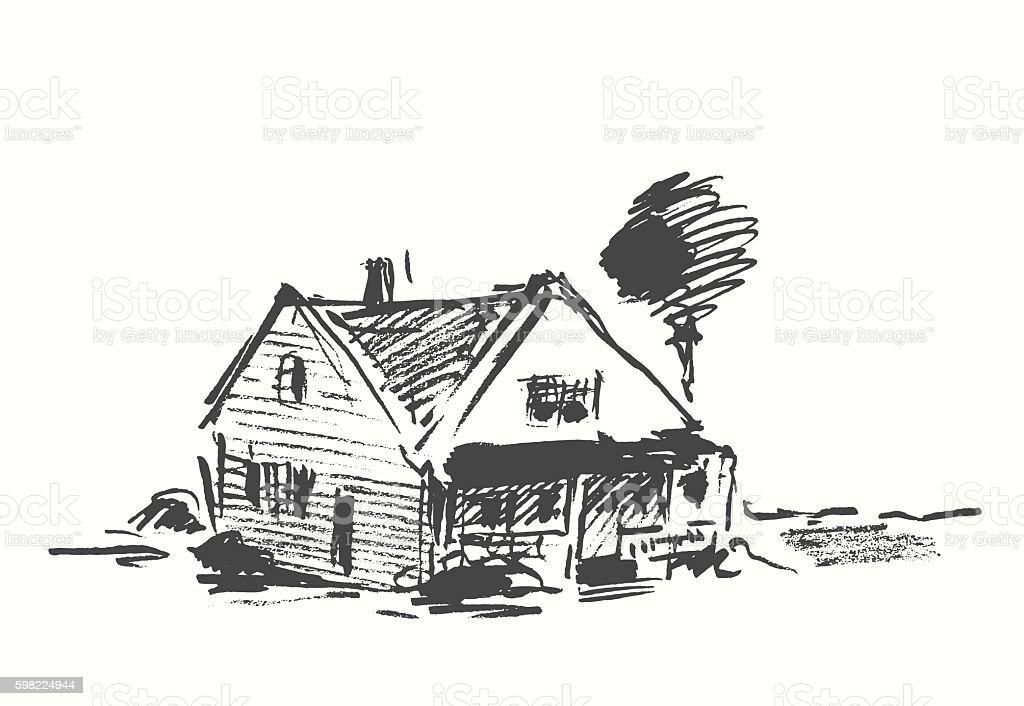 Architect draft house vector illustration drawn. ilustração de architect draft house vector illustration drawn e mais banco de imagens de abstrato royalty-free